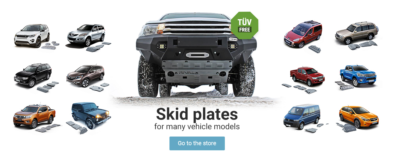 Skid plates -  -     TÜV (Technical Inspection Association) free and for many of the vehicle variants avaliable